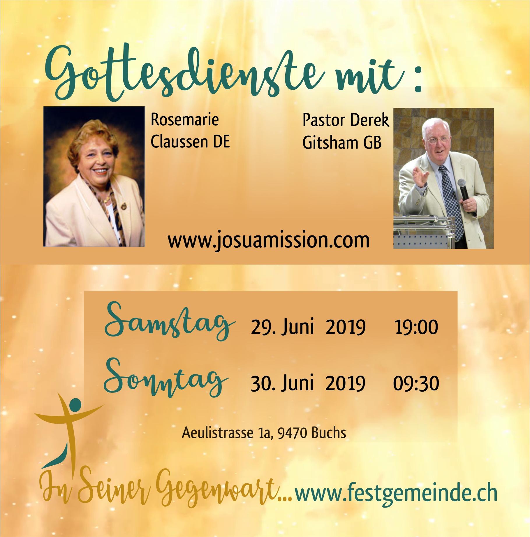 Besonderer Gottesdienst mit Rosmarie Claussen DE und Derek Gitsham GB