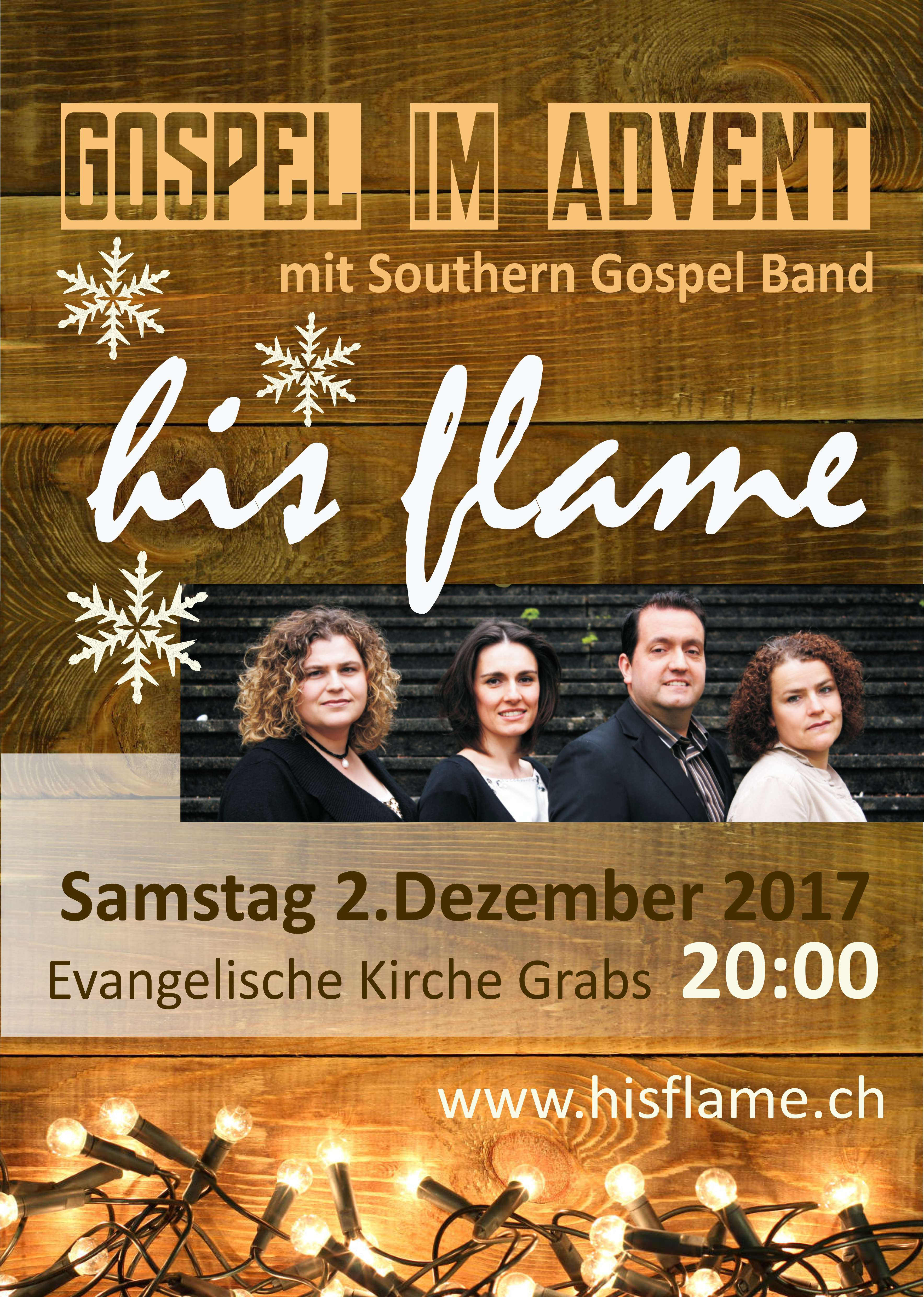 Adventskonzert der Southern Gospel Band his flame in Grabs